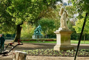 Gardeners are replanting around Luxembourg Gardens with Autumn plants