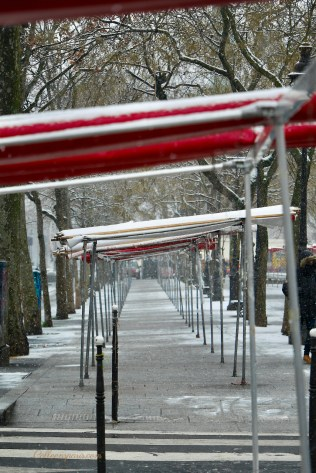 A Snow Day in Paris Setting up for the market at the Bastille
