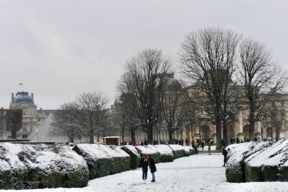 A Snow Day in Paris Park near the Carrousel du Louvre