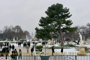 A Snow Day in Paris Looking into the Jardin des Tuileries