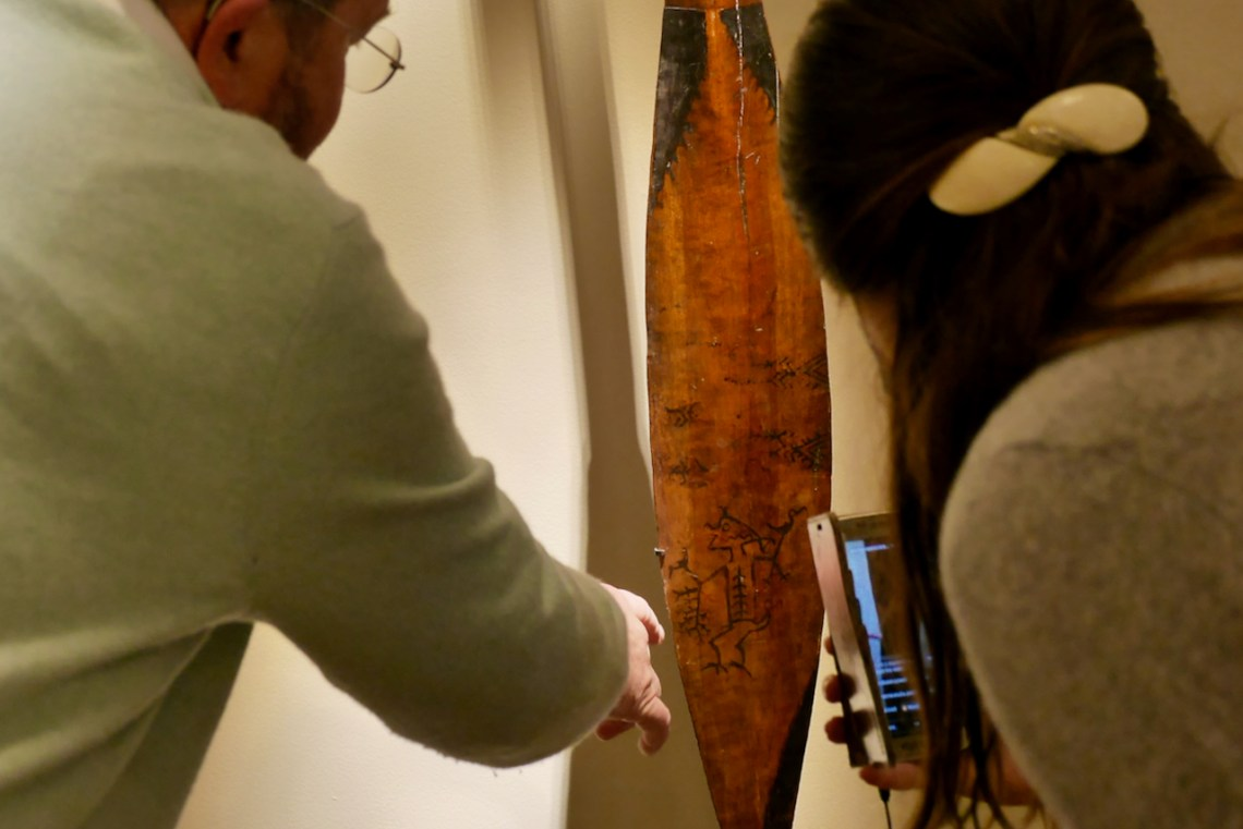 Ceremonial paddle with Janus ancestor heads with rare representation of a sea-spirit on the blade @galeriemeyer