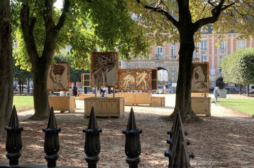 View from Louis XIII statue Place des Vosges on Vik Muniz's Pictures of Garbage