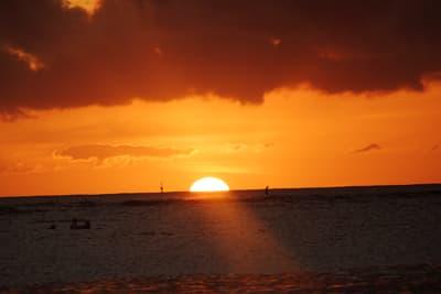 Bright orange sunset over the ocean