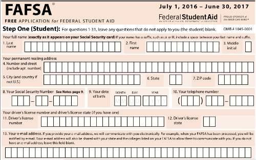 Fafsa Printable Application Form