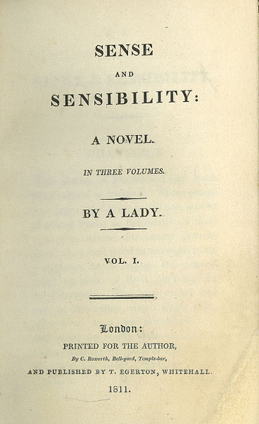 Sense and Sensibility Title Page of First Edition by Jane Austen 1811  The Core Curriculum