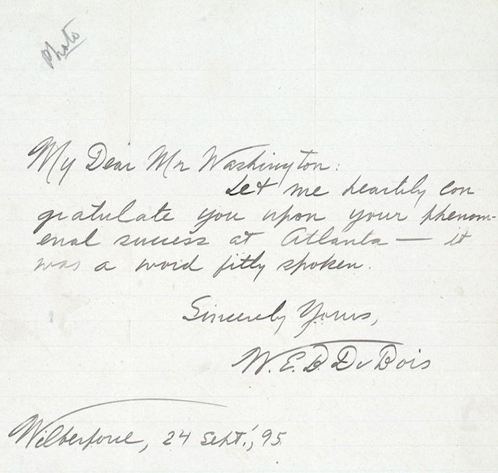 Letter from W.E.B. Du Bois to Booker T. Washington