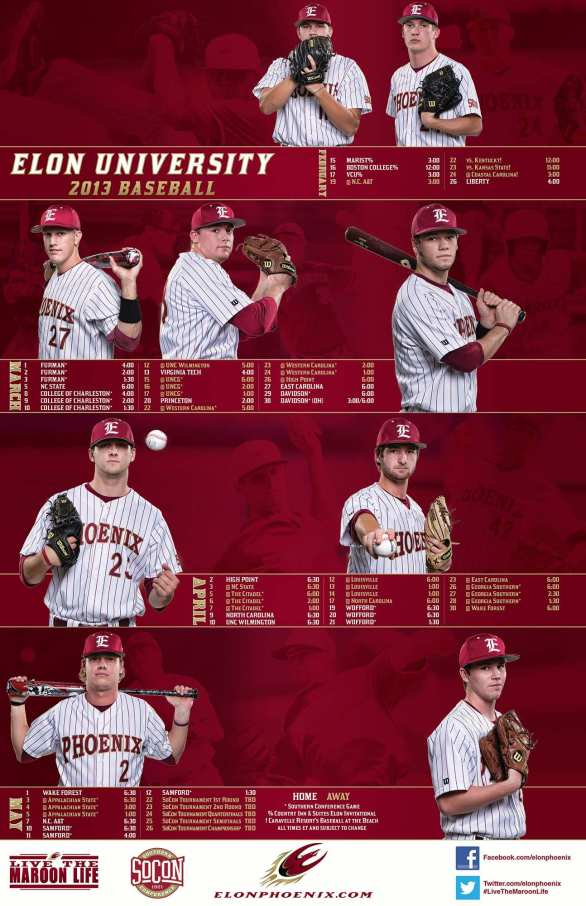 2013 Elon Baseball Poster