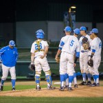 UCLA head coach John Savage walks to the mound in the bottom of the 5th inning. Photo by Steve Cheng, BHEphotos.