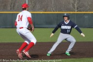 Monday, March 20, 2017; Northboro, MA; WPI Engineers third baseman Steven Gallagher (14) gets Gordon College Scots outfielder Alec Willey (19) caught up in a rundown during the Engineers come from behind 9-7 victory over the Scots at the New England Baseball Complex.