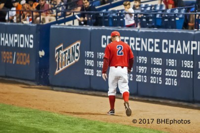 Arizona Manager, Jay Johnson, walks off the field after being ejected for arguing a check swing call - Photo By David Cohen, BHEphotos