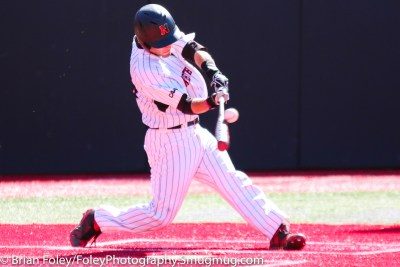 Friday, April 14, 2017; Brookline, MA; Northeastern Huskies infielder Scott Holzwasser (28) makes contact on a pitch during the Huskies 6-3 victory over the Cougars in a CAA matchup at Parsons Field.