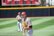 Sunday, April 16, 2017; Brookline, MA; College of Charleston pitcher Jakob Frishmuth (32) looks in for a sign during the Huskies 6-3 victory over the Cougars in a CAA matchup at Parsons Field.