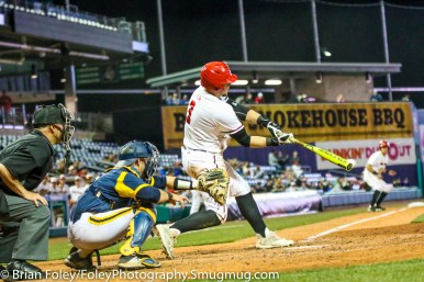 Tuesday, April 11, 2017; Hartford, CT; Hartford infielder TJ Ward (3) reaches for a pitch during the Hawks 6-4 victory over the Bobcats at Dunkin Donuts Park.