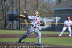 Tuesday, April 18, 2017; Northboro, MA; MIT Engineers pitcher Zach Michaud (14) throws a pitch during the WPI Engineers 12-4 victory over the MIT Engineers in a NEWMAC conference matchup.