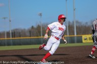 Tuesday, April 18, 2017; Northboro, MA; WPI Engineers outfielder Anthony Capuano (9) rounds third base during the WPI Engineers 12-4 victory over the MIT Engineers in a NEWMAC conference matchup.