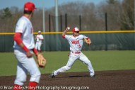Tuesday, April 18, 2017; Northboro, MA; WPI Engineers shortstop Nick Comei (5) throws to first base during the WPI Engineers 12-4 victory over the MIT Engineers in a NEWMAC conference matchup.
