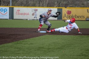 Tuesday, April 18, 2017; Northboro, MA; WPI Engineers outfielder Ryan Tropeano (10) slides into second base with MIT Engineers infielder John Drago (10) awaits the throw during the WPI Engineers 12-4 victory over the MIT Engineers in a NEWMAC conference matchup.