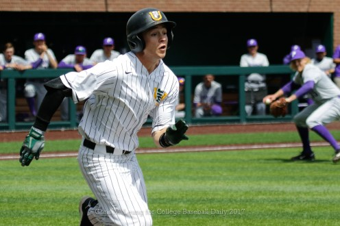 4/15/17: USF BASE vs Portland Pilots at Benedetti Diamond in San Francisco, CA. Portland wins 4-1. San Francisco Dons outfielder Matt Sinatro (4) Image by Chris M. Leung for USF Dons Baseball