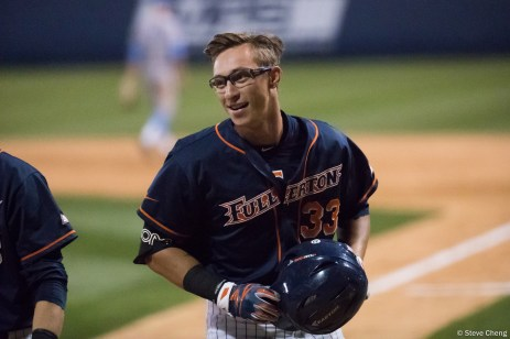 Hunter Cullen homers in the 6th inning. CSUF defeated UCLA 4-3, Fullerton, CA, May 9, 2017. Photo by Steve Cheng, BHEphotos.