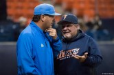 UCLA head coach John Savage and CSUF head coach Rick Vanderhook greet each other after the game. CSUF defeated UCLA 4-3, Fullerton, CA, May 9, 2017. Photo by Steve Cheng, BHEphotos.