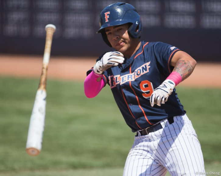 Hank LoForte walks in the 3rd inning. CSUF defeated UCSB 12-3, Fullerton, CA, May 14, 2017. Photo by Steve Cheng, BHEphotos.