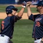 Scott Hurst hit his 2nd home run of the game off the right field foul pole in the 5th inning. CSUF defeated UCSB 12-3, Fullerton, CA, May 14, 2017. Photo by Steve Cheng, BHEphotos.