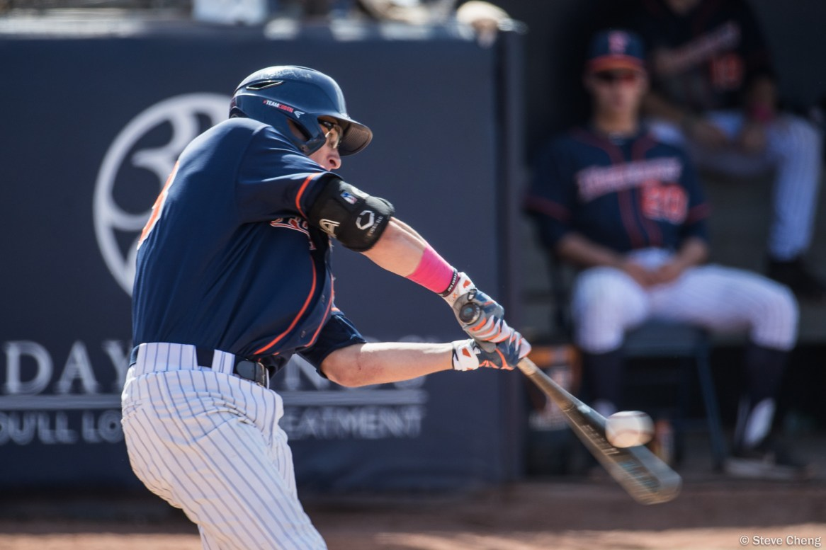 Hunter Cullen singles to right field in the 6th inning. CSUF defeated UCSB 12-3, Fullerton, CA, May 14, 2017. Photo by Steve Cheng, BHEphotos.