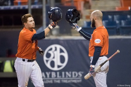 Dillon Persinger hits a home run to left field in the 7th inning. Saint Mary's defeated CSUF 12-4, Fullerton, CA, May 15, 2017. Photo by Steve Cheng, BHEphotos.