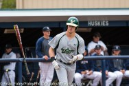Friday, May 12, 2017; Storrs, CT; South Florida Bulls outfielder Garrett Zech (27) flips his bat towards his bench as he takes a walk during the Huskies 2-1 victory over the Bulls.