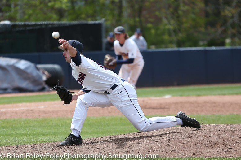 Friday, May 12, 2017; Storrs, CT; Connecticut Huskies pitcher P.J. Poulin (19) throws a pitch during the Huskies 2-1 victory over the Bulls.