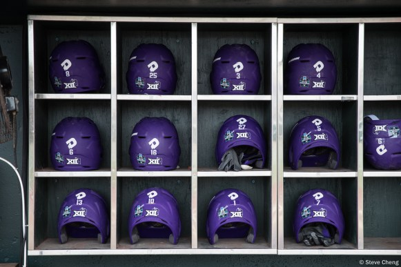 2017 College World Series, Day 1: TCU helmets in their dugout prior to taking the field for batting practice.