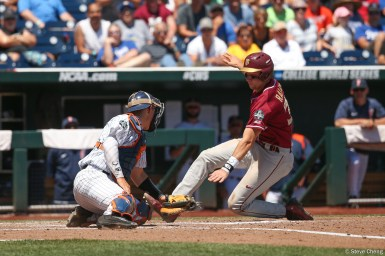 2017 College World Series: Florida State defeats CSUF 6-4 in the first elimination game.