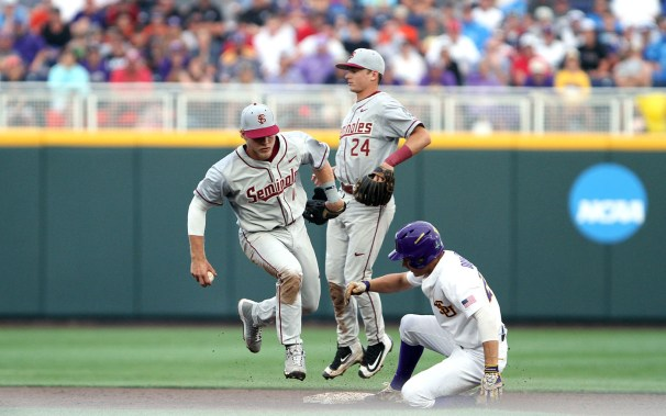LSU defeated FSU 5-4 in the opening game for each team at the College World Series on Saturday, June 17, 2017. (Photo by Michelle Bishop)