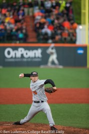Corvallis, OR - JUNE 10: Bryce Fehmel (26) of the Oregon State Beavers during a 9-2 Oregon State Beavers victory over the Vanderbilt Commodores in an NCAA Championship Super Regional Playoff game on June 10, 2017 at Goss Stadium on the campus of Oregon State University in Corvallis, OR (Photo by Ben Ludeman)
