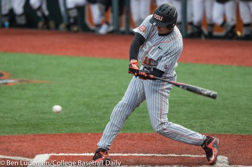 Corvallis, OR - JUNE 10: Trevor Larnach (11) of the Oregon State Beavers during a 9-2 Oregon State Beavers victory over the Vanderbilt Commodores in an NCAA Championship Super Regional Playoff game on June 10, 2017 at Goss Stadium on the campus of Oregon State University in Corvallis, OR (Photo by Ben Ludeman)