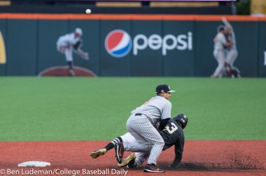 Corvallis, OR - JUNE 10: Nick Madrigal (3) of the Oregon State Beavers and Jaren Kendall (3) of the Vanderbilt Commodores during a 9-2 Oregon State Beavers victory over the Vanderbilt Commodores in an NCAA Championship Super Regional Playoff game on June 10, 2017 at Goss Stadium on the campus of Oregon State University in Corvallis, OR (Photo by Ben Ludeman)