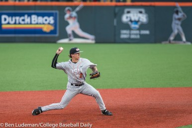 Corvallis, OR - JUNE 10: Cadyn Grenier (2) of the Oregon State Beavers during a 9-2 Oregon State Beavers victory over the Vanderbilt Commodores in an NCAA Championship Super Regional Playoff game on June 10, 2017 at Goss Stadium on the campus of Oregon State University in Corvallis, OR (Photo by Ben Ludeman)