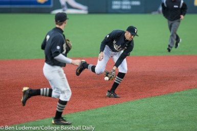 Corvallis, OR - JUNE 10: Connor Kaiser (12) of the Vanderbilt Commodores during a 9-2 Oregon State Beavers victory over the Vanderbilt Commodores in an NCAA Championship Super Regional Playoff game on June 10, 2017 at Goss Stadium on the campus of Oregon State University in Corvallis, OR (Photo by Ben Ludeman)