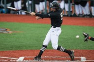 Corvallis, OR - JUNE 10: JJ Bleday (51) of the Vanderbilt Commodores loses his bat during a 9-2 Oregon State Beavers victory over the Vanderbilt Commodores in an NCAA Championship Super Regional Playoff game on June 10, 2017 at Goss Stadium on the campus of Oregon State University in Corvallis, OR (Photo by Ben Ludeman)