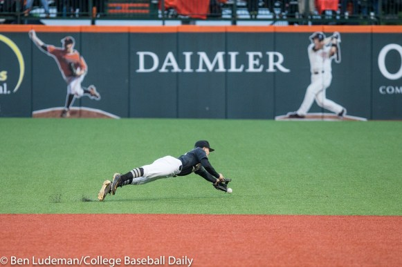 Corvallis, OR - JUNE 10: Ethan Paul (10) of the Vanderbilt Commodores during a 9-2 Oregon State Beavers victory over the Vanderbilt Commodores in an NCAA Championship Super Regional Playoff game on June 10, 2017 at Goss Stadium on the campus of Oregon State University in Corvallis, OR (Photo by Ben Ludeman)