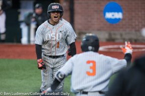 Corvallis, OR - JUNE 10: Christian Donahue (1) of the Oregon State Beavers during a 9-2 Oregon State Beavers victory over the Vanderbilt Commodores in an NCAA Championship Super Regional Playoff game on June 10, 2017 at Goss Stadium on the campus of Oregon State University in Corvallis, OR (Photo by Ben Ludeman)