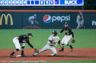 Corvallis, OR - JUNE 10: Connor Kaiser (12) of the Vanderbilt Commodores and Steven Kwan (4) of the Oregon State Beavers during a 9-2 Oregon State Beavers victory over the Vanderbilt Commodores in an NCAA Championship Super Regional Playoff game on June 10, 2017 at Goss Stadium on the campus of Oregon State University in Corvallis, OR (Photo by Ben Ludeman)