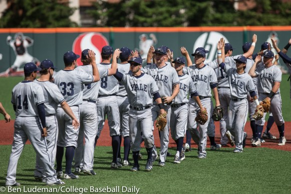 Corvallis, OR - JUNE 4: The Yale Bulldogs celebrate after a 9-5 Yale Bulldogs victory over the Holy Cross Crusaders in an NCAA Championship Regional Playoff game on June 4, 2017 at Goss Stadium on the campus of Oregon State University in Corvallis, OR (Photo by Ben Ludeman)