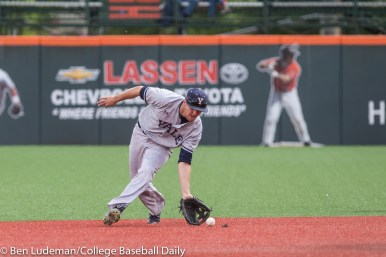 Corvallis, OR - JUNE 4: Alex Stiegler (15) of the Yale Bulldogs during a 9-5 Yale Bulldogs victory over the Holy Cross Crusaders in an NCAA Championship Regional Playoff game on June 4, 2017 at Goss Stadium on the campus of Oregon State University in Corvallis, OR (Photo by Ben Ludeman)