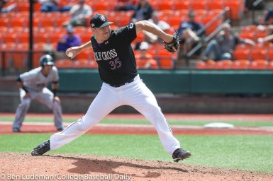 Corvallis, OR - JUNE 4: Justin Finan (35) of the Holy Cross Crusaders during a 9-5 Yale Bulldogs victory over the Holy Cross Crusaders in an NCAA Championship Regional Playoff game on June 4, 2017 at Goss Stadium on the campus of Oregon State University in Corvallis, OR (Photo by Ben Ludeman)