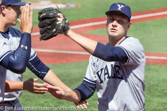 6/2/17, Goss Stadium Corvallis, OR: Yale Bulldogs pitcher Scott Politz (34) is congratulated coming off the mound by the bench during the Yale Bulldogs 5-1 win over Nebraska in the 2017 NCAA Baseball Tournament.