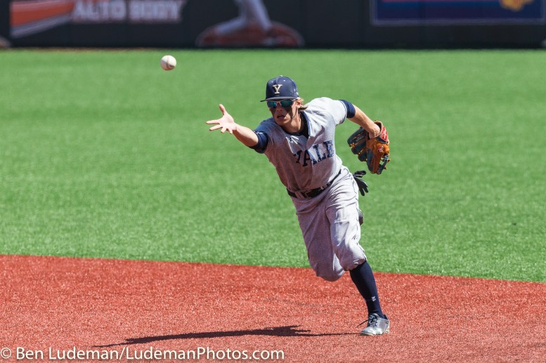 6/2/17, Goss Stadium Corvallis, OR: A Yale Bulldogs player flips the ball to first base during the Yale Bulldogs 5-1 win over Nebraska in the 2017 NCAA Baseball Tournament.