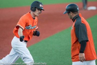 Corvallis, OR - JUNE 4: Michael Gretler (10) of the Oregon State Beavers after hitting a home run during an 8-1 Oregon State Beavers victory over the Yale Bulldogs in an NCAA Championship Regional Playoff game on June 4, 2017 at Goss Stadium on the campus of Oregon State University in Corvallis, OR (Photo by Ben Ludeman)