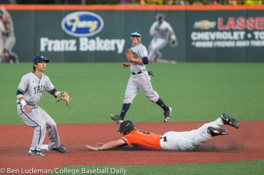 Corvallis, OR - JUNE 4: Dai Dai Otaka (4) of the Yale Bulldogs and Cadyn Grenier (2) of the Oregon State Beavers during an 8-1 Oregon State Beavers victory over the Yale Bulldogs in an NCAA Championship Regional Playoff game on June 4, 2017 at Goss Stadium on the campus of Oregon State University in Corvallis, OR (Photo by Ben Ludeman)