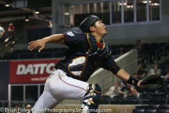 7/12/17, Dunkin Donuts Park Hartford, CT: Japan Collegiate All-Star Team Hiroki Obata (27) looks to lay out for a foul ball during the USA Collegiate Team's 2-1 victory over the Japan Collegiate All-Star's at Dunkin Donuts Park in Hartford, Connecticut.